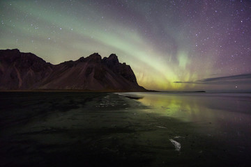 Printed kitchen splashbacks Eggplant Aurora Borealis (Northern Lights) above Stokksnes Beach and Vestrahorn Mountains, Iceland