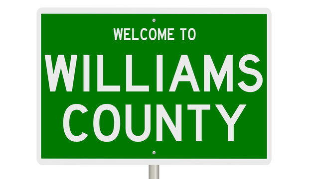 Rendering of a green 3d highway sign for Williams County