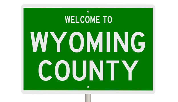 Rendering of a green 3d highway sign for Wyoming County
