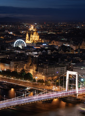 Wall Mural - Budapest cityscape at night in summer