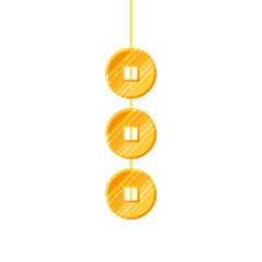 golden coins feng shui hanging isolated icon vector illustration design