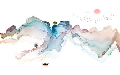 Ink landscape decoration illustration abstract line poster background