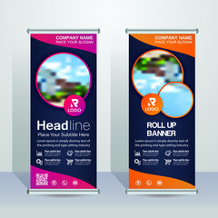 Modern Roll up banner design template, vertical, abstract background, pull up design, modern x-banner, rectangle size.