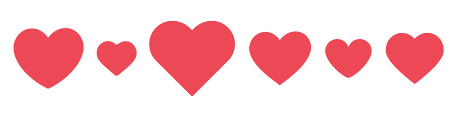 Fototapete - Heart icon set. Love and like pink symbol isolated on white background.