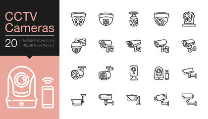 CCTV Cameras & Security Camera Systems icons. Modern line design. For presentation, graphic design, mobile application, web design, infographics, UI. Editable Stroke.
