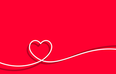 Fototapete - Valentines card with line art drawing of simple heart sign.