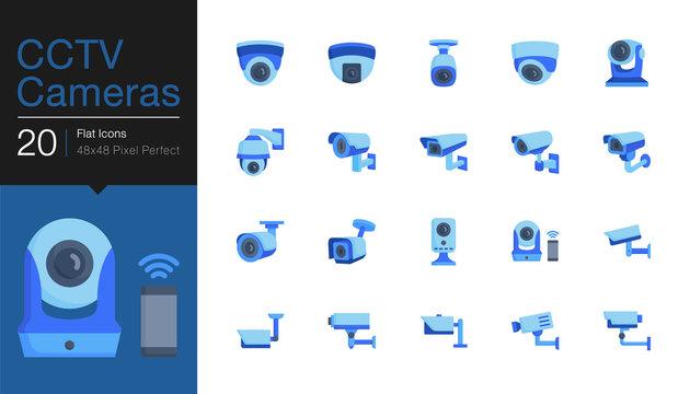 CCTV Cameras & Security Camera Systems icons. Flat icon design. For presentation, graphic design, mobile application, web design, infographics, UI.