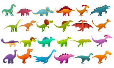 Dinosaur icons set. Cartoon set of dinosaur vector icons for web design