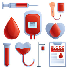 Blood transfusion icons set. Cartoon set of blood transfusion vector icons for web design