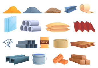 Construction materials icons set. Cartoon set of construction materials vector icons for web design