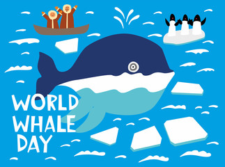 World whale day. Holiday card. A cute whale swims across the northern ocean among the ice floes. He is greeted by penguins and Eskimos. Vector hand drawing