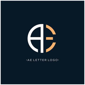 AE Initials Letter Logo Design with Sans Serif Font Vector Illustration. - Vector