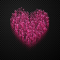 Fototapete - Pink glow heart icon Love symbol on checkered background.