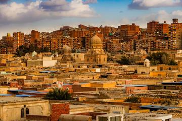 Cairo, Egypt, The neighborhood of Mansheya Nasir in the setting sun. Papier Peint