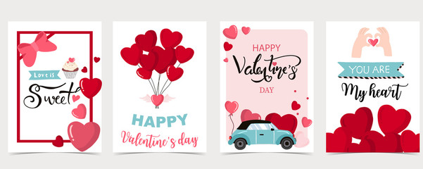 Collection of valentine's day background set with heart,balloon.Editable vector illustration for website, invitation,postcard and sticker Fotomurales