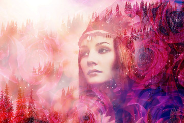 Shaman woman in winter landscape, artist collage.