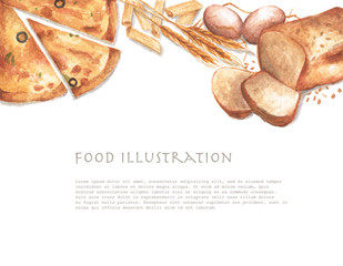 Watercolor food frame with copy space. Frame with hand draw objects:fresh bread, dry pasta, eggs, pizza and wheat ears on with background.