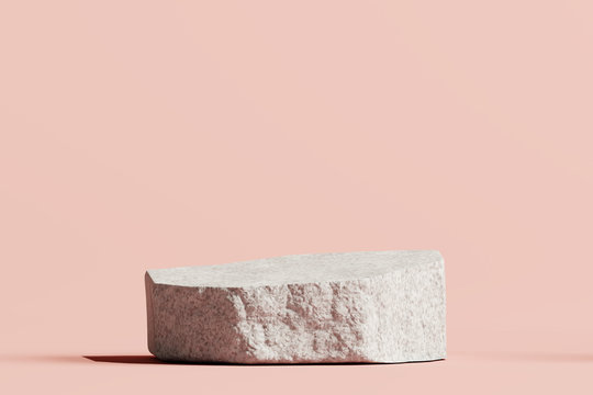 Stone podium product on pastel pink background. 3d rendering