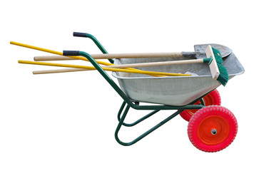 garden cart with shovel and brushes