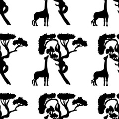 Seamless pattern with giraffe and tree silhouette. Vector hand drawn illustration on a beautiful background.