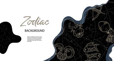 Obraz Astrological horoscope. Horizontal background with zodiac constellations. - fototapety do salonu
