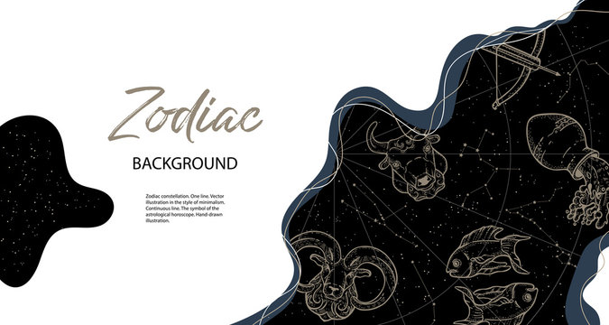 Astrological horoscope. Horizontal background with zodiac constellations.