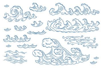 Vector Set of Sea Waves - Hand drawn Doodles illustrations