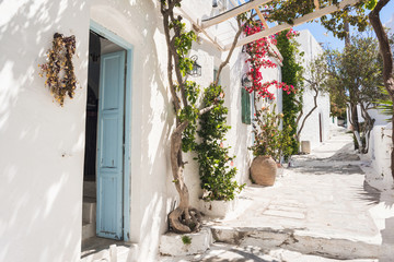 Beautiful traditional greek street with flowers on Amorgos island, Greece.  Fototapete