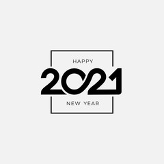 Fototapeta Happy new year logo design 2021. Text design pattern. Vector with black holiday label. Isolated signs on white background.