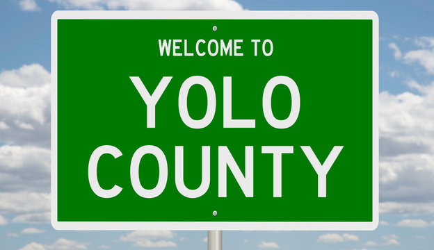 Rendering of a green 3d highway sign for Yolo County