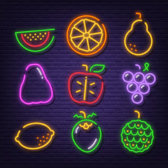 fruit neon signboard icons