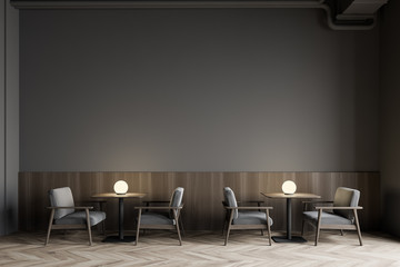 Foto op Canvas Restaurant Modern gray restaurant interior with armchairs