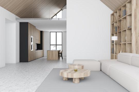 White attic living room and kitchen interior