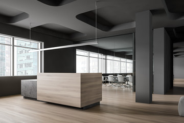 Reception desk and meeting room in office