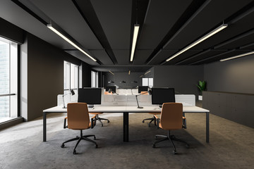 La pose en embrasure Individuel Dark gray open space office with orange chairs