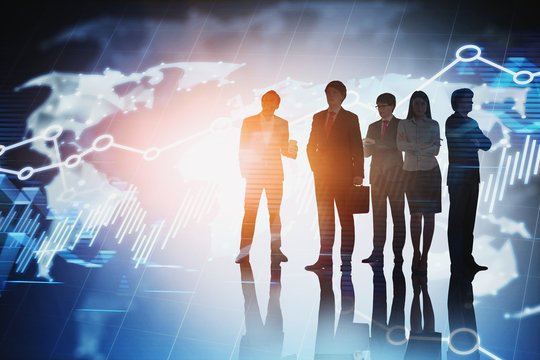 Diverse business team, world map