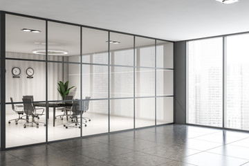 White conference room in gray office
