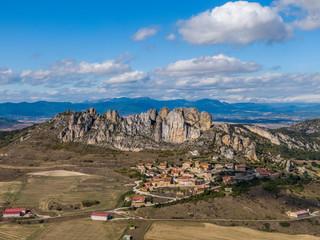 Cellorigo village and the rugged rocky landscape in La Rioja province, Spain