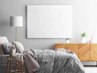 Mock up poster, interior Scandinavian design, 3d render, 3d illustration