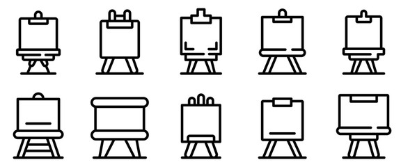 Easel icons set. Outline set of easel vector icons for web design isolated on white background