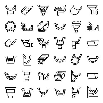 Gutter icons set. Outline set of gutter vector icons for web design isolated on white background