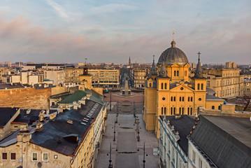 Łódź- widok na Plac Wolności.