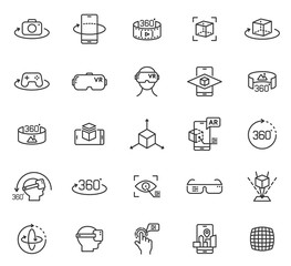 Virtual and augmented reality outline vector icons isolated on white background. AR and VR line icon set for web design, mobile apps, ui design and print. Futuristic technology concept