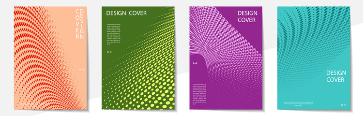 Geometric cover design templates A-4 format. Editable set of layouts for covers of books, magazines, notebooks, albums, booklets. Modern colors.