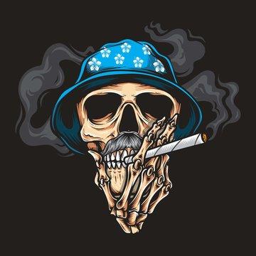 skull smoking vector logo illustration