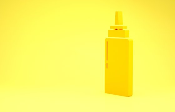 Yellow Sauce bottle icon isolated on yellow background. Ketchup, mustard and mayonnaise bottles with sauce for fast food. Minimalism concept. 3d illustration 3D render