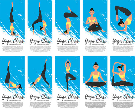 Yoga class vertical flyers in flat style
