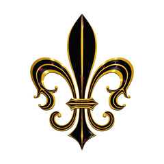 fleur de lis 3d render 3d illustration isolated on white