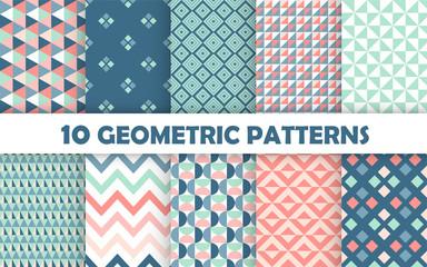 Photo sur Plexiglas Artificiel Set of geometric seamless pattern.