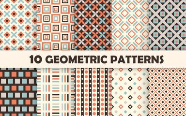 Poster Pattern Set of geometric seamless pattern.